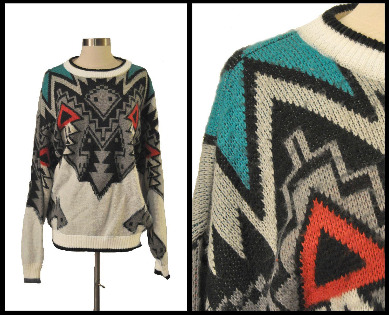 Retro Aztec Tribal Print Oversized Sweater size XL. $20.00, via ...
