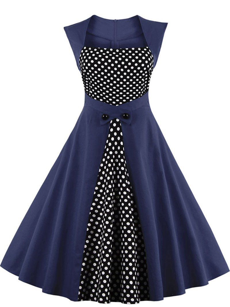 Polka Dot Semi Formal Skater Dress - PURPLISH BLUE XL | My Style ...