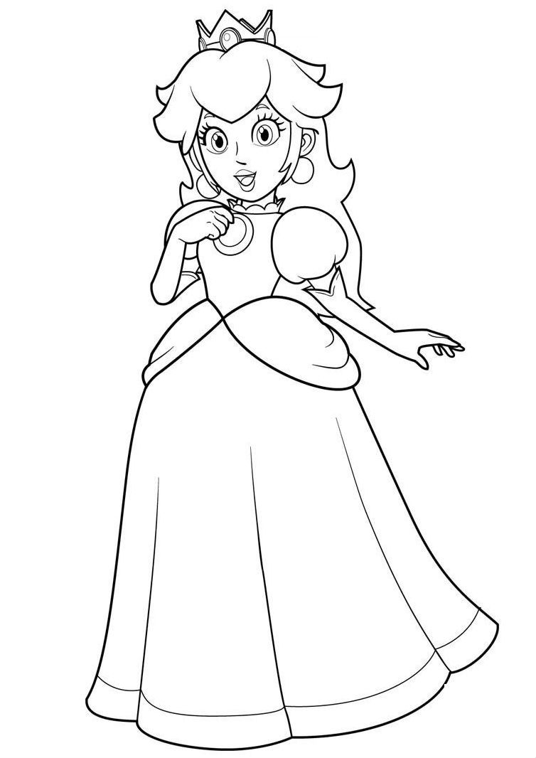 Princess Toadstool Coloring Pages Printable Mario Bros Malarbok Barnkalas