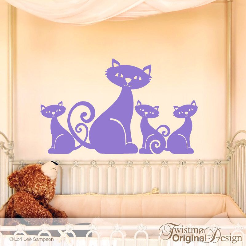 Vinyl Wall Decal Adorable Mom Cat And  Little Kittens Family For - Custom vinyl wall decals cats