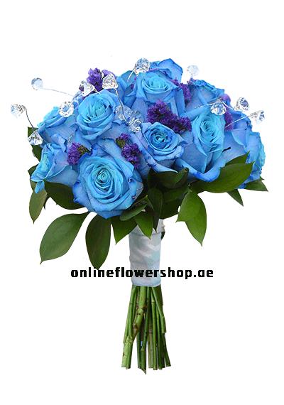 Blue hand tied Flower shop dubai, Online flower shop