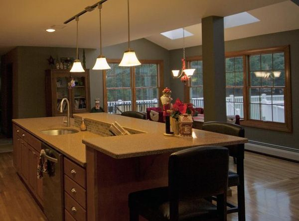 Kitchen Island With Raised Bar Top