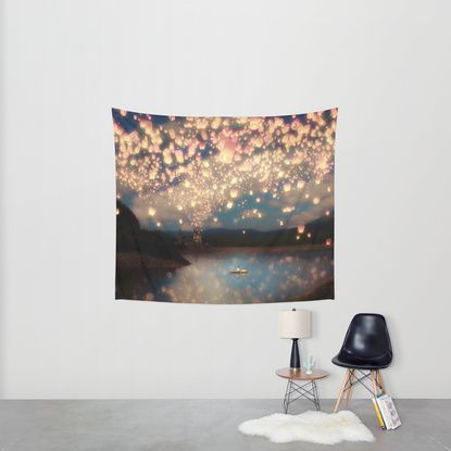 2104333f5d Love Wish Lanterns Wall Tapestry by Paula Belle Flores