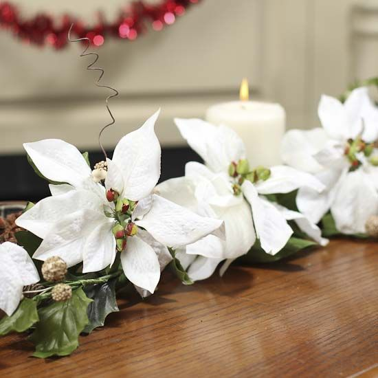 Artificial White Poinsettia Swag Wall Hanging Decorations Christmas And Winter Holiday Crafts Diy Christmas Wedding Holiday Floral Winter Holiday Crafts
