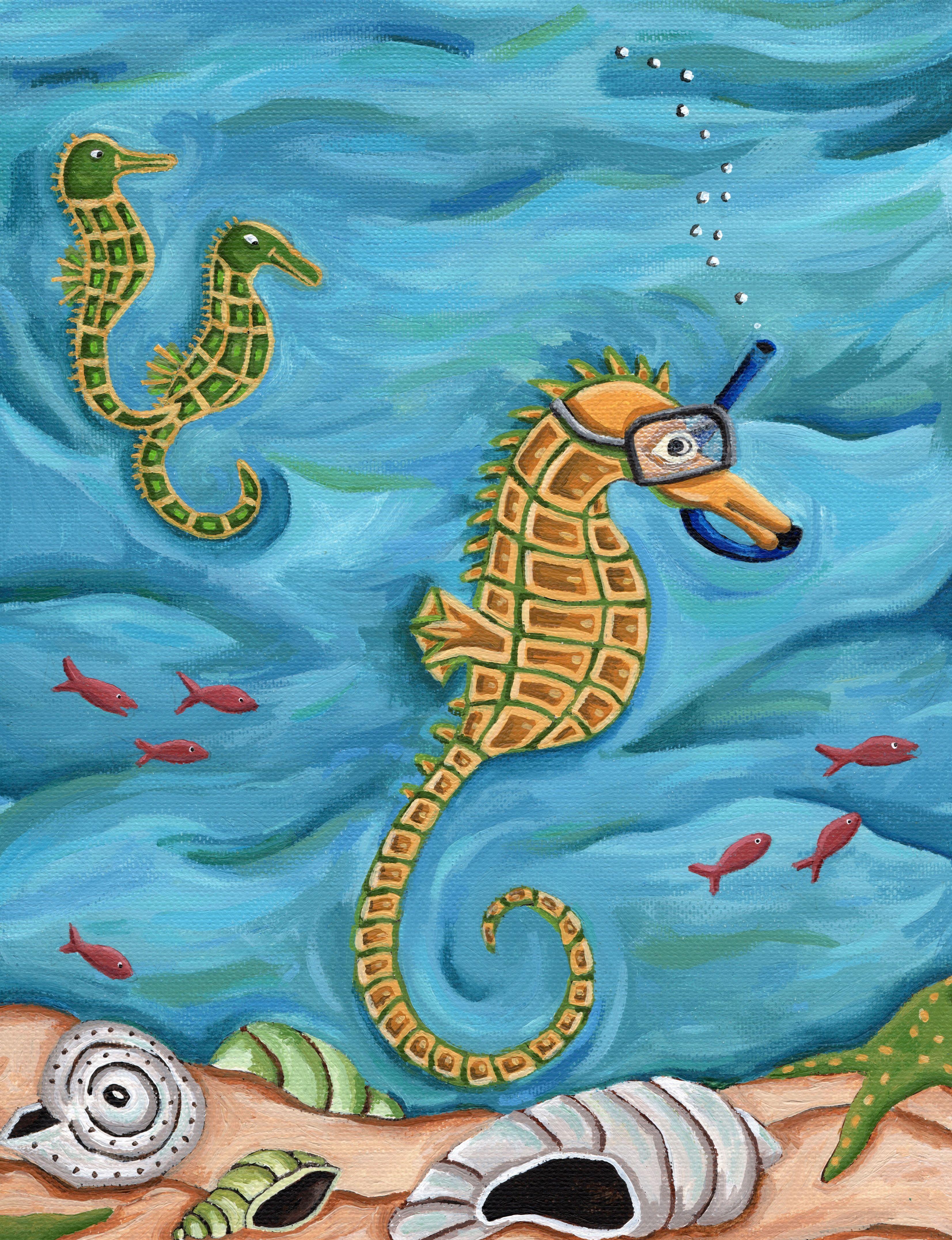 Snorkeling Sea Horse - Acrylic Painting (Illustration rom my Animal
