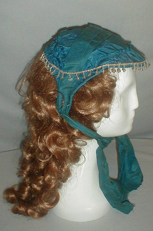 Museum de Accessioned 1860's Blue Silk Beaded Bonnet | eBay seller fiddybee, lined in black cotton
