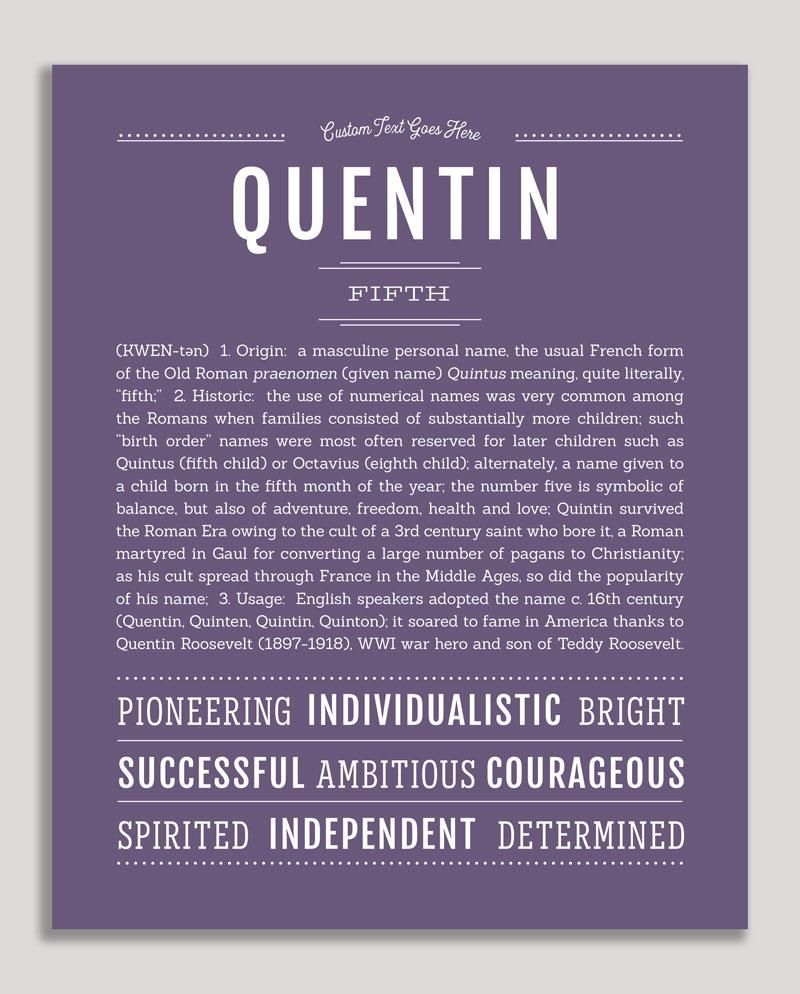 Quentin Name Art Print Classic names, Personalized art