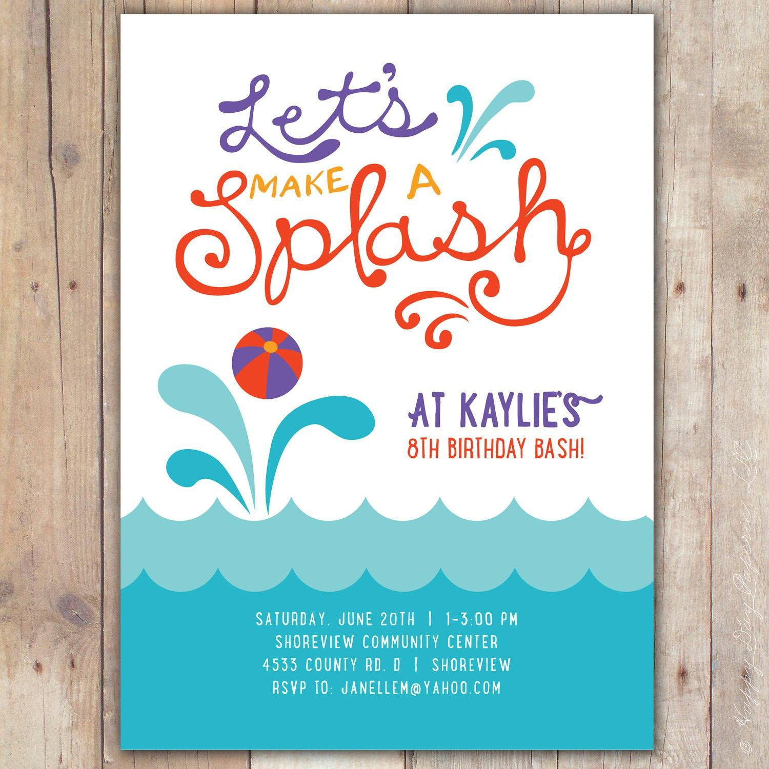 Pool Party Invitation Template Free Ideas More http://www ...