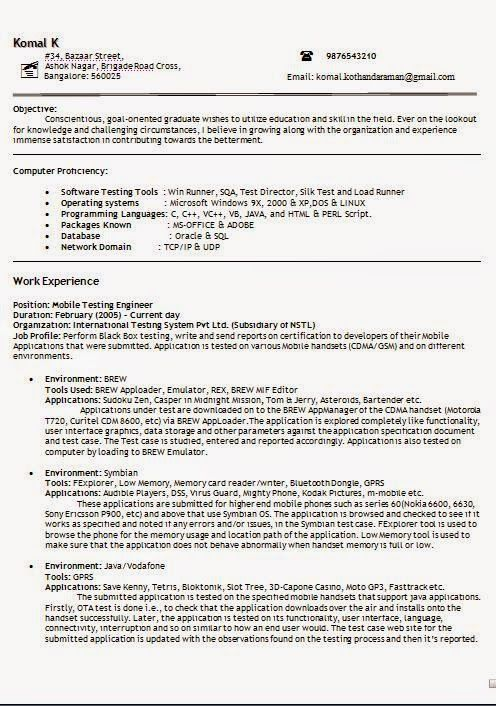 Microsoft Test Engineer Sample Resume Free Sample Resume Templates Sample Template Example Ofexcellent