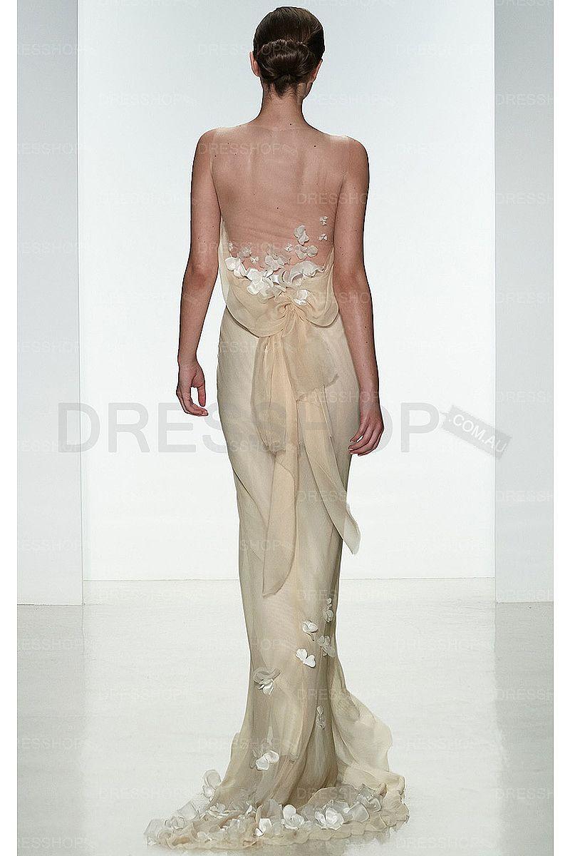 Silk sheath wedding dress  Breathtaking Garden Chiffon Sweep Train Sheath Wedding Dresses
