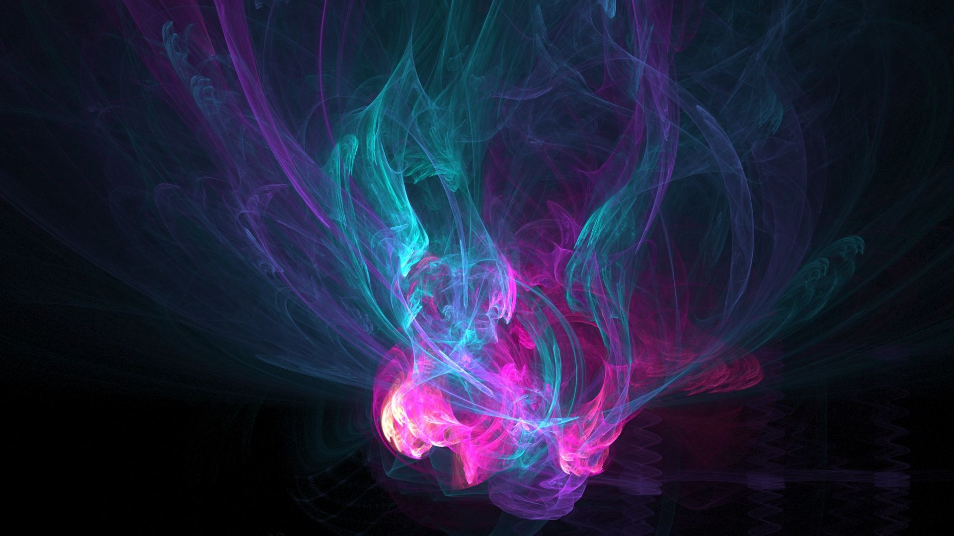Abstract Fractal Smoke In Pink Turquoise Purple Wallpaper Smoke