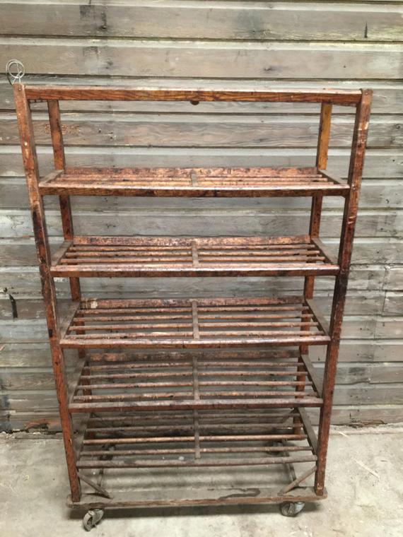 Vintage Doweled 6 Shelf Wood East Coast Factory Rolling Rack 42w X