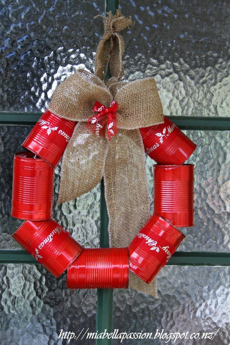 Tin Can Christmas Wreath Recycled Christmas Decorations Large Christmas Ornaments Christmas Wreaths