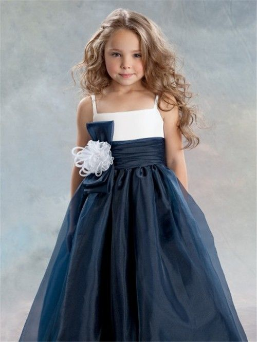 A-line Princess Spaghetti Strap Tea Length Navy Blue Organza ...