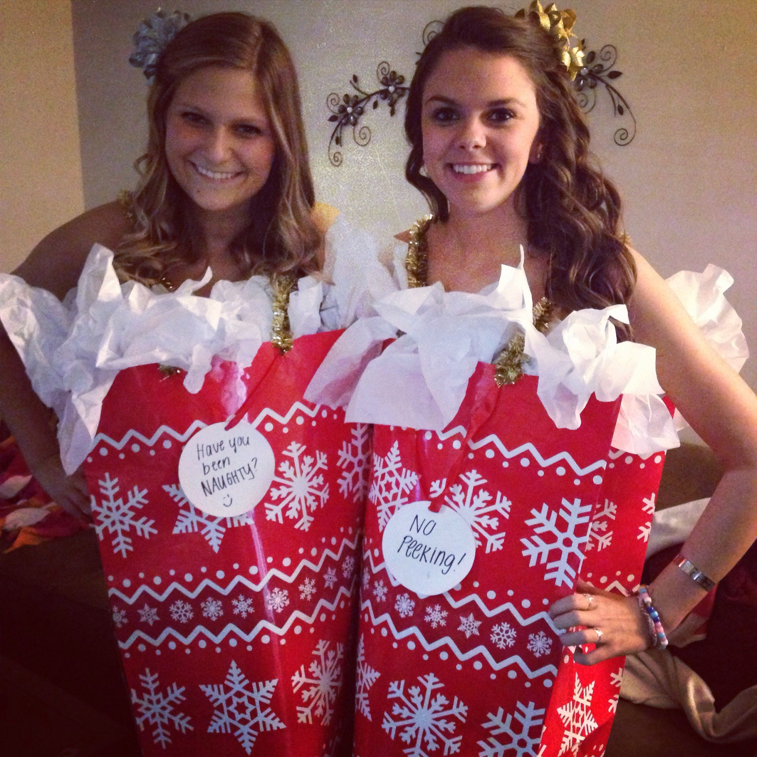 Christmas gift bag costume #diy #christmas #costume @Rachel Ashbrook this will be us next year for the grab a date  sc 1 st  Pinterest & Christmas gift bag costume #diy #christmas #costume @Rachel Ashbrook ...