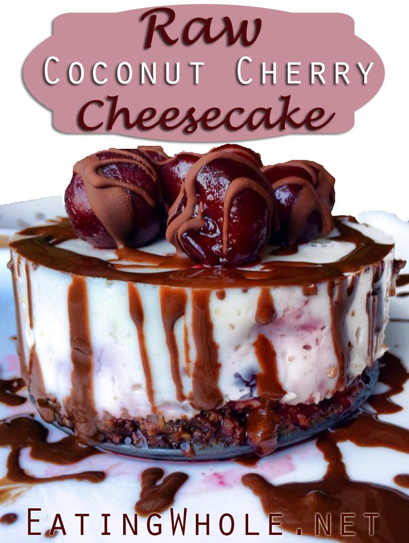 Raw Coconut Cherry Cheesecake with a Chocolate Pecan Crust