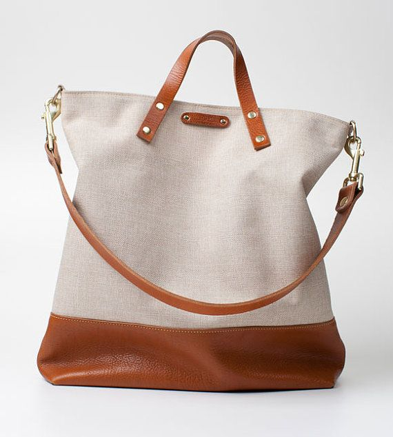 Large Canvas Leather Tote Bag with italian by SiroganeLeatherWorks ...