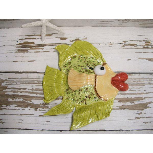 Big lips fish wall art hanging lime green ceramic Olivia handmade ...
