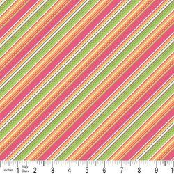 Summer Song Diagonal Stripe Pink Green Orange by ThreeRiversFabric, $2.75