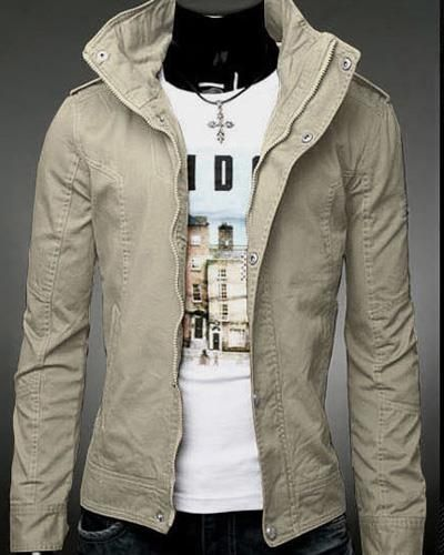 03592c2a2c5 Mens Jackets Solid Epaulet Long Sleeve Zippered Stand Collar Cotton Men  Jackets Discount Online Shopping