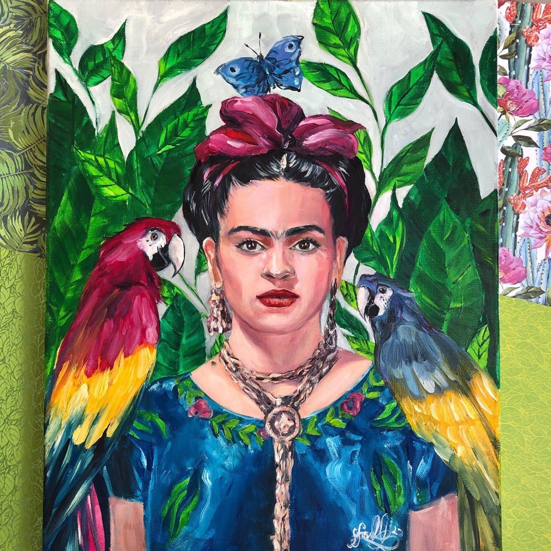 Frida kahlo with parrots original oil painting unique