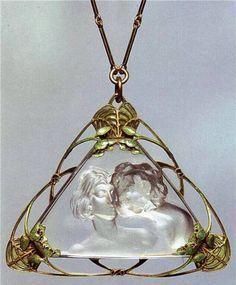 Colgante modernista en oro, esmaltes y cristal tallado