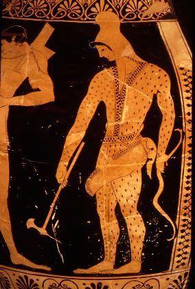 Scythian Archer With Gorytos And Axe Greek Pottery