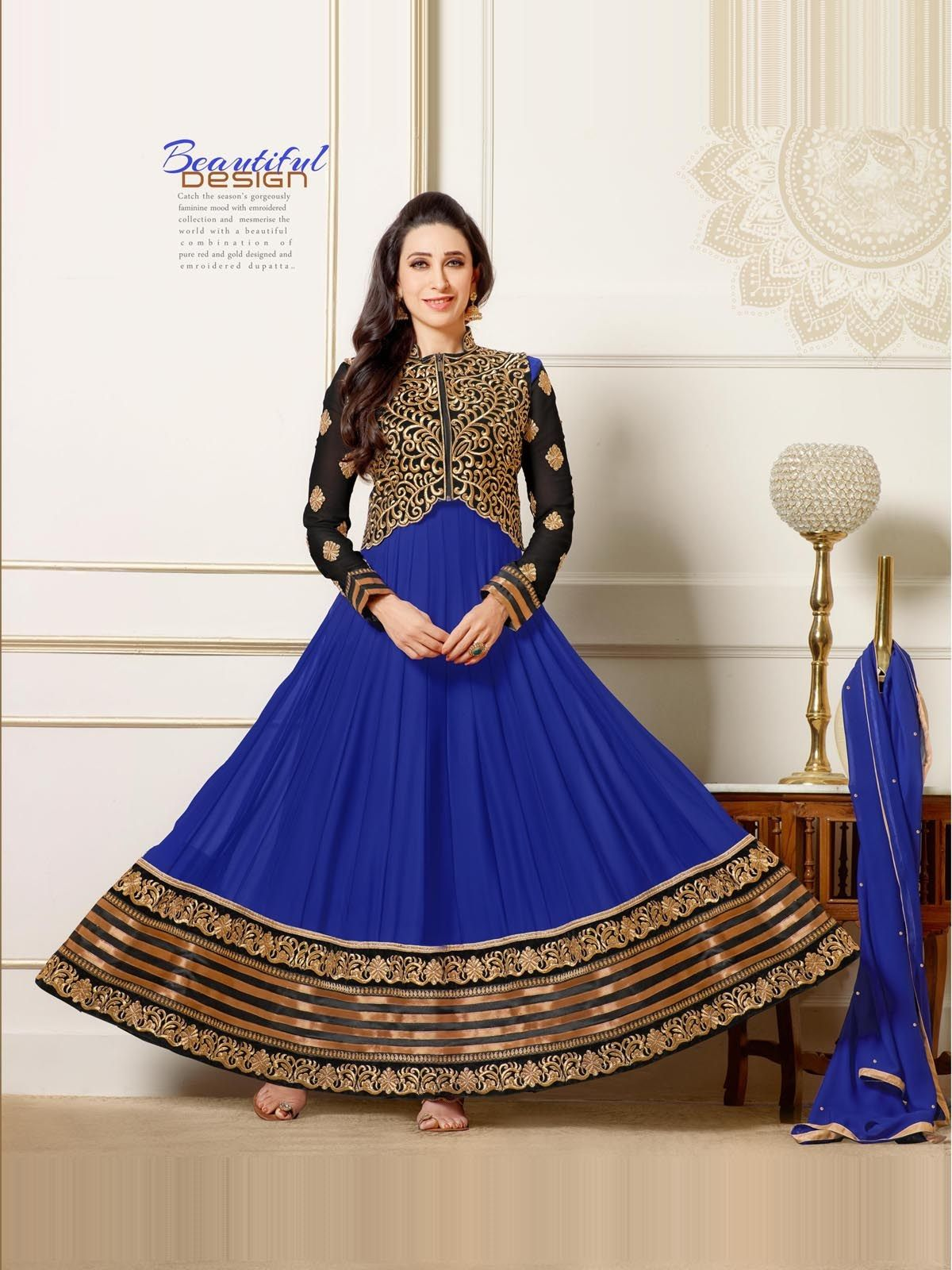 Online Shopping for Karishma Kapoor Blue Deigner Floor   Salwar Suit   Unique Indian Products by Whatshop Enterprise - MWHAT32553515830