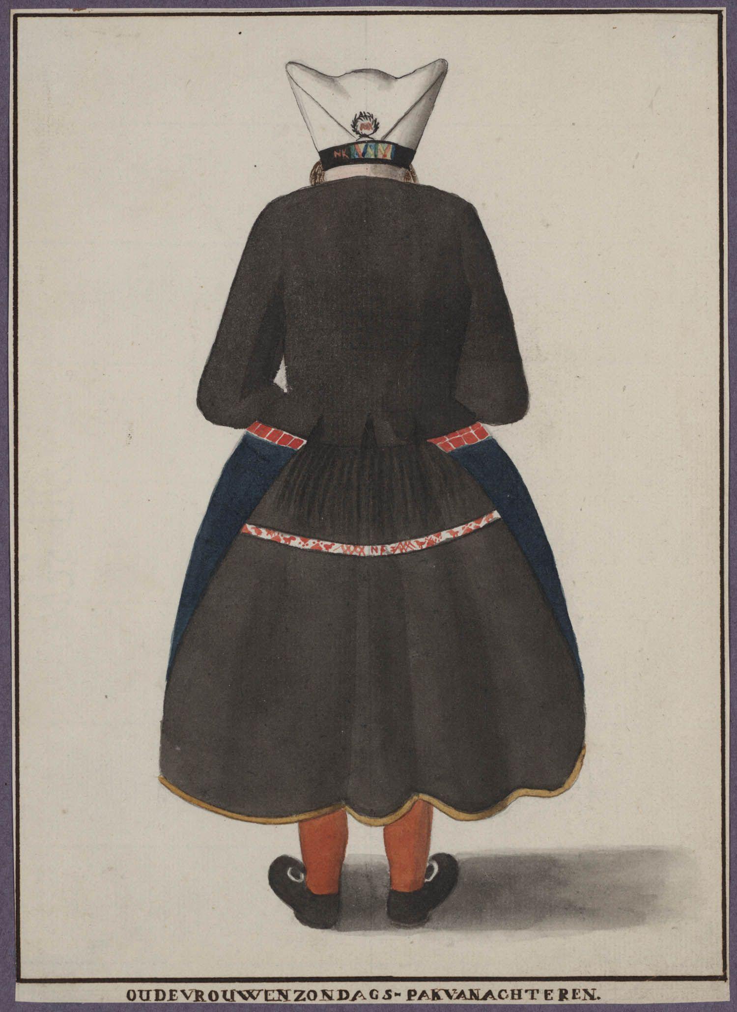 Vrouw in zondagse dracht Marken (van achter) oude vrouwen zondags-pak van achteren 1800-1900 #NoordHolland #Marken