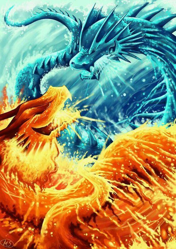 Resultado De Imagen Para Agua Y Fuego Dragones Dragón De Agua Fuego Y Hielo Dragones Mitologicos