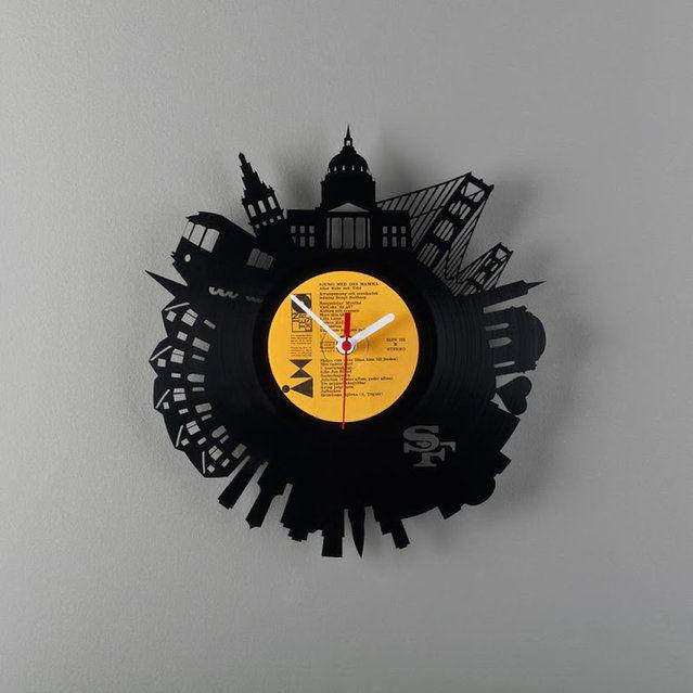 Vinyl Record City Wall Clocks By Estonian Designer Pavel Sidorenko