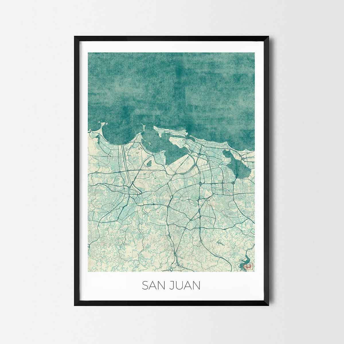 San juan art posters city art map posters and prints san juan san juan art posters and prints of your favorite city unique design of vancouver map gumiabroncs Image collections