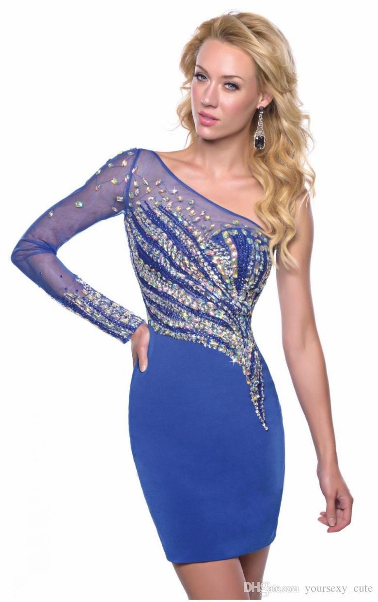 One shoulder long sleeve homecoming dresses vintage sheath