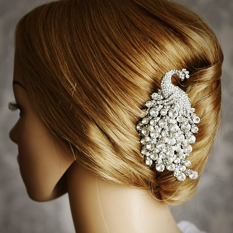 Peacock Feather and Flower Inspired Bridal Hair Comb Stick with Rhinestones