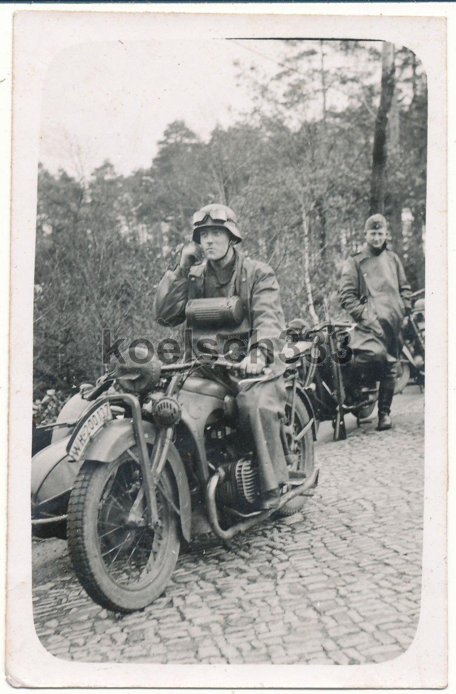 Foto Kamenz 1940 Bmw R 11 Motorrad Kradmelder Krad Kfz Kennzeichen