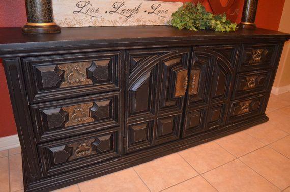 Vintage Black Bassett Dresser Buffet Tv Media Console Funky