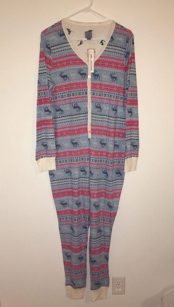 33903bb1ae7e Womens JANE   BLEECKER Large Onesie Pajamas Vintage Reindeer Knit ...