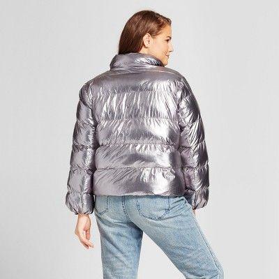 58b0ce2235b Women s Plus Size Boxy Metallic Puffer Jacket - Who What Wear Silver ...