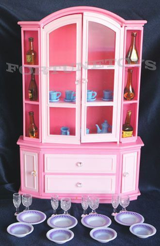 Genial GLORIA FURNITURE BUFFET U0026 HUTCH WINE CARAFES W/Dining Wares+Bottles FOR  BARBIE #GLORIA