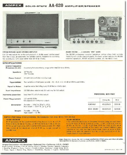 1968 Ad For The Ampex Aa620 Professional Sound System For The Reel