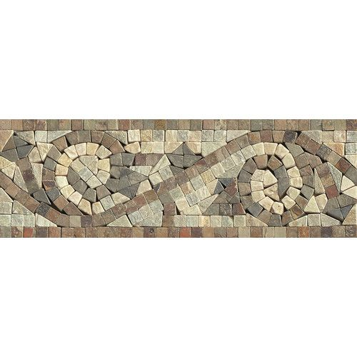 """Found it at Wayfair - 12"""" x 4"""" Stone Mosaic Liner Mystic Swirl Tile in Amber Gold/Chinese Multicolor"""