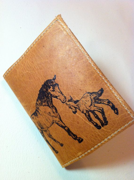billfold wallet with card slots leather custom for you mother horse and foal on Etsy, $18.00
