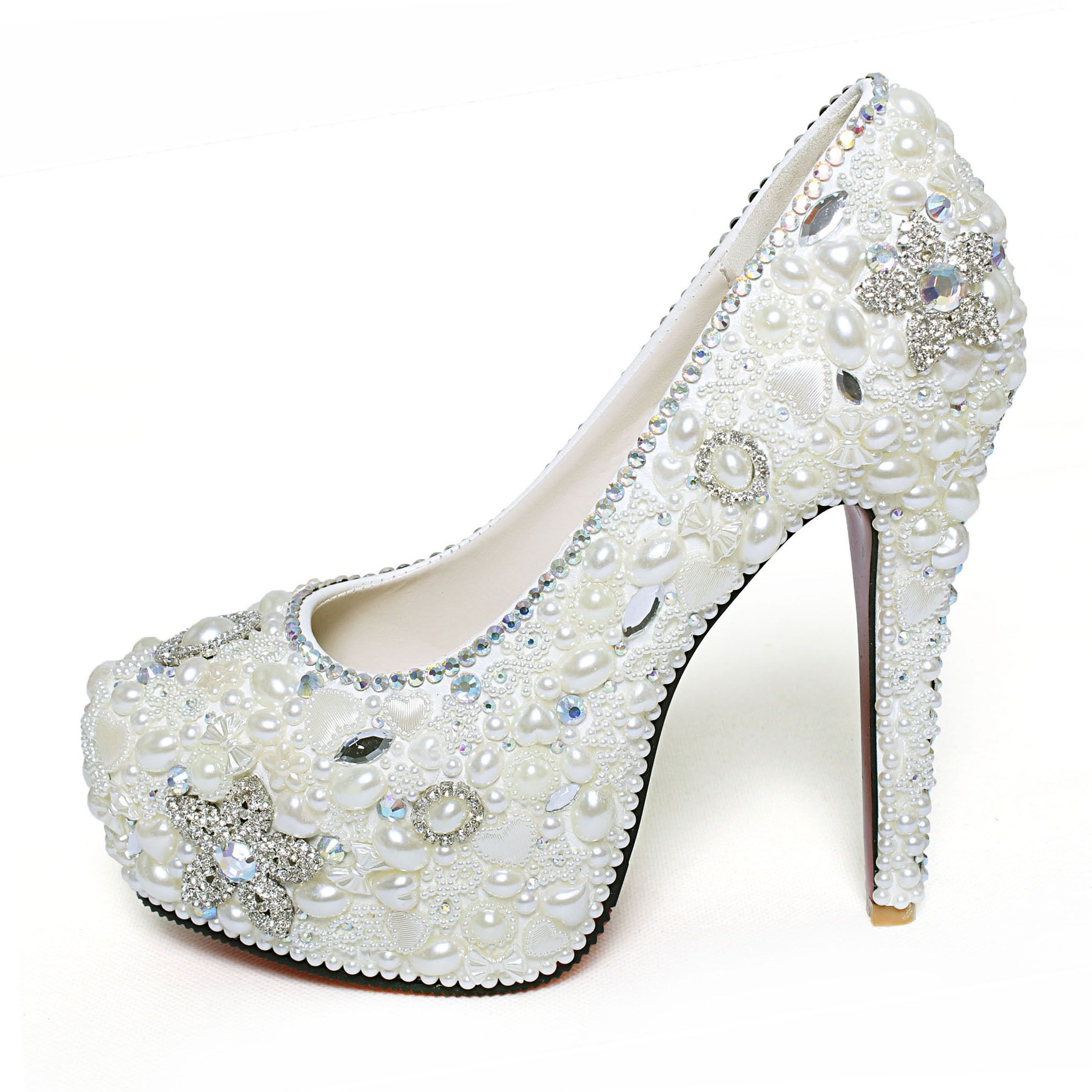 Ally Luxury Wedding Shoes Handmade High Heel Rhinestone Crystal Single White Pearl Marriage Kristin