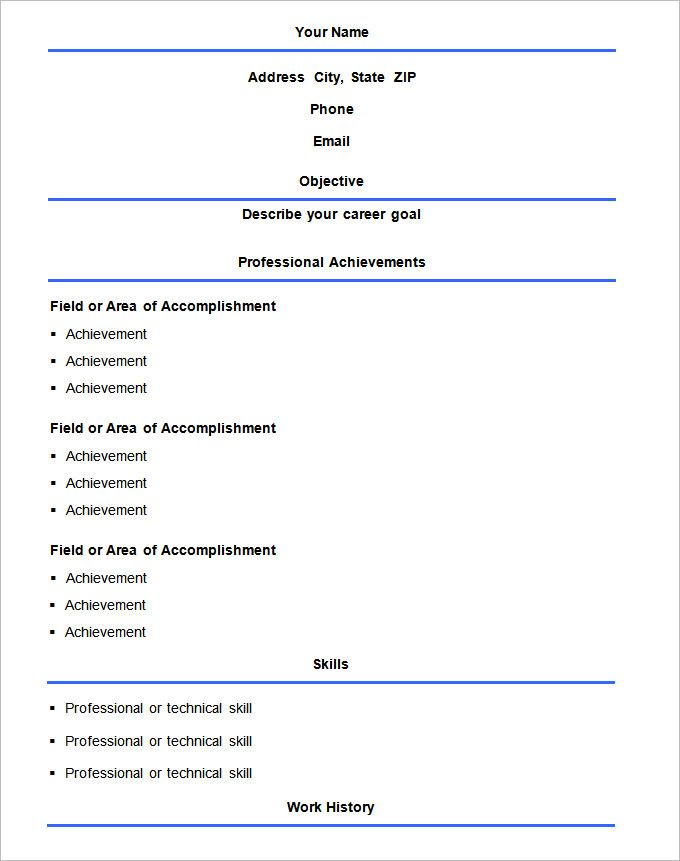 Basic Resume Template u2013 51+ Free Samples, Examples, Format - basic resume templates free