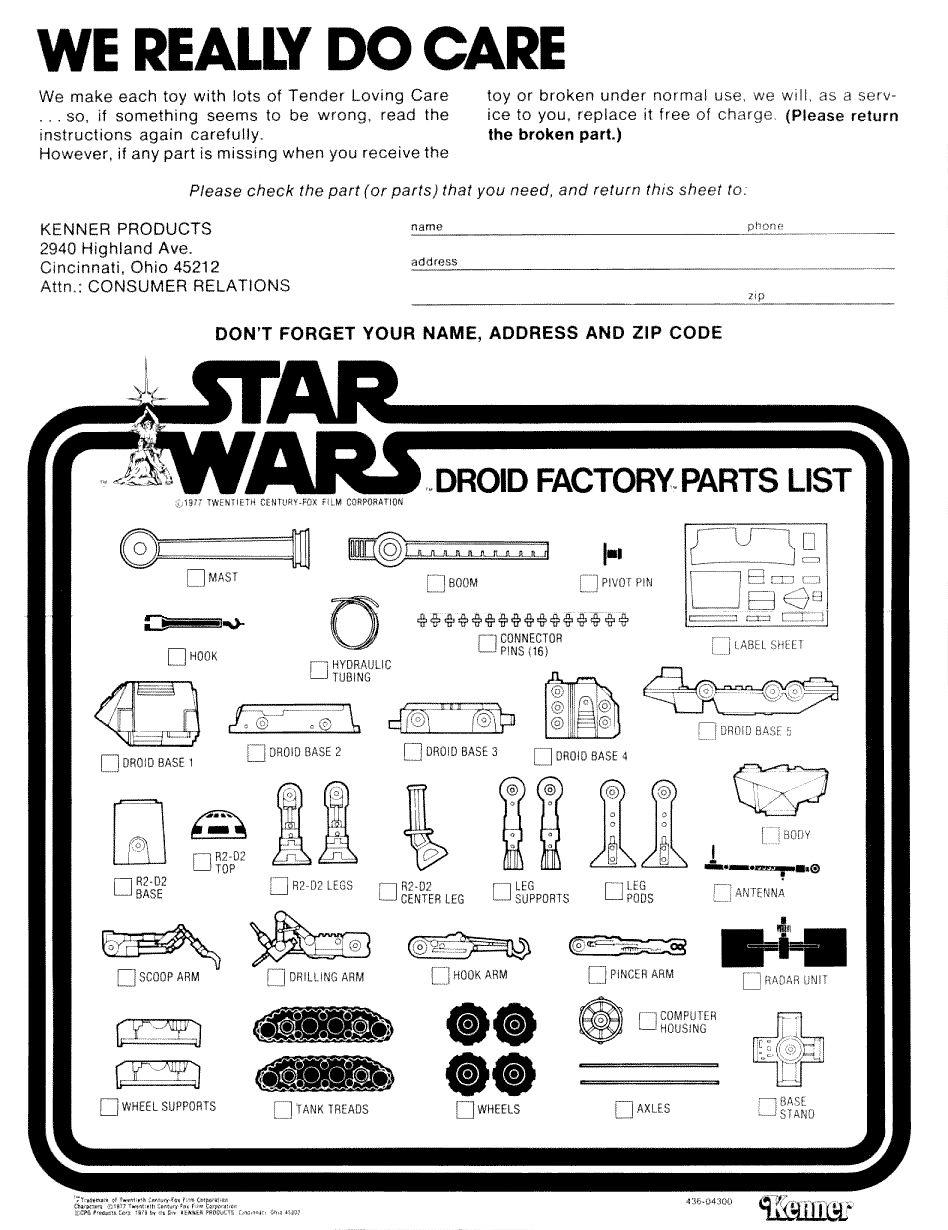 Droid Factory Part Connector Pin Vintage Star Wars Speelgoed en ...