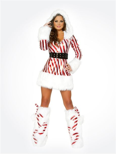 e04e51f2cc4be Candy Cane Hooded Dress Outfit : Cute Sexy Christmas Costumes and Outfits  Made in the USA!