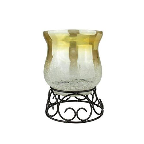 Felices Pascuas Collection 7.5 inch Decorative Golden Luster Crackle Finish Glass Pillar Candle Holder with Black Scroll Base