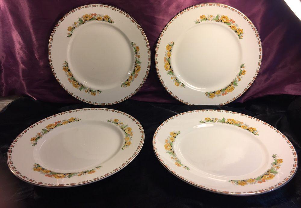 Vintage John Maddock u0026 Sons Ltd. Vitreous Dinner Plate Set Gold Trim | eBay & Vintage John Maddock u0026 Sons Royal Vitreous Dinner Plate Set | Dinner ...
