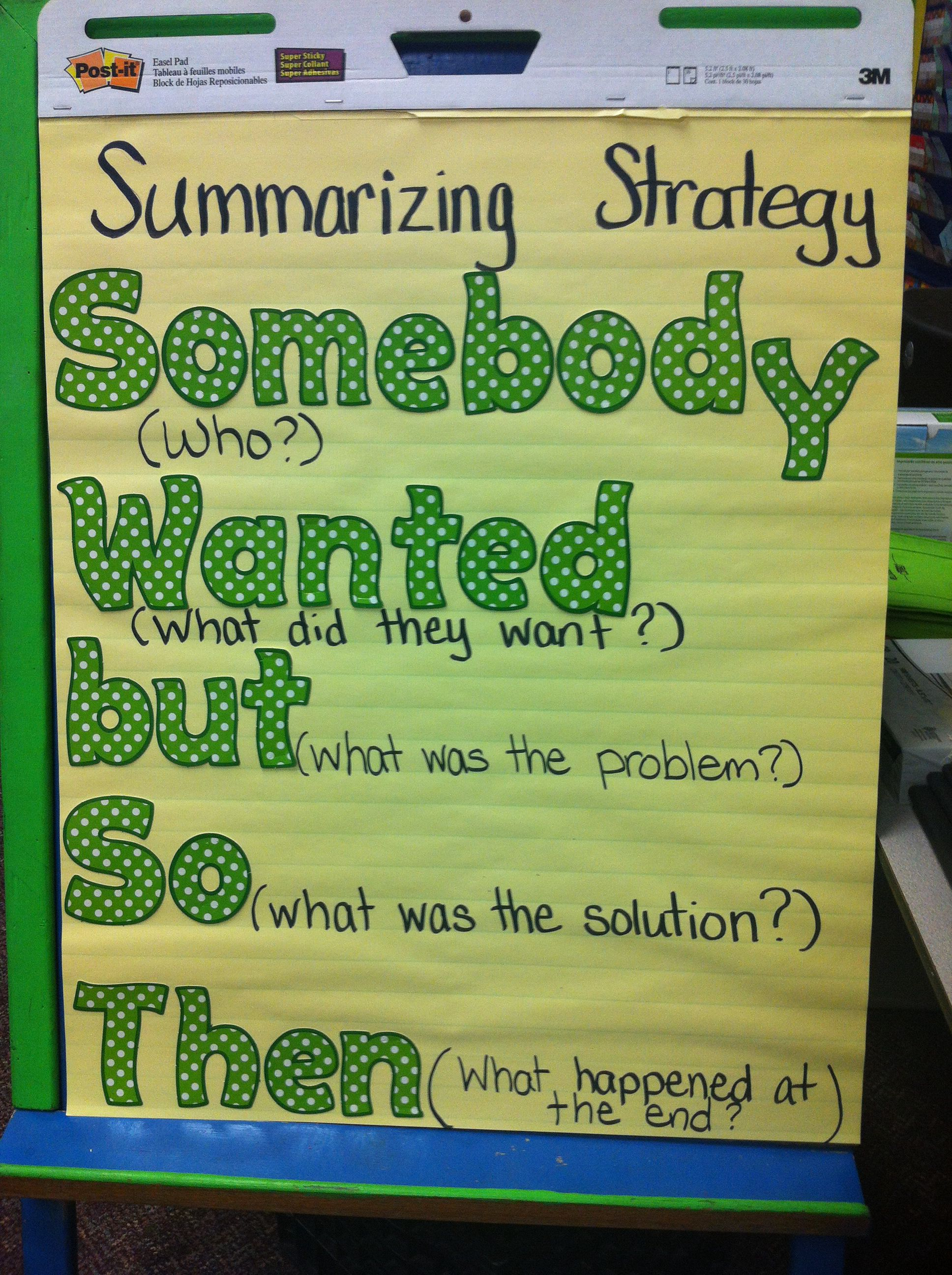 Summarizing Strategy Somebody Wanted But So Then Anchor
