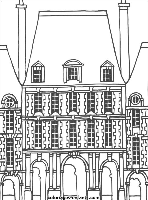 Coloriage de la place des Voges